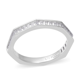 ELANZA Simulated Diamond Hexagon Band Ring in Sterling Silver