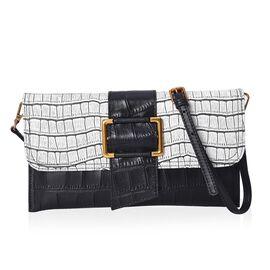 100% Genuine Leather Croc Pattern Bag with Detachable Shoulder Strap (Size 27x3x15 Cm) - Black and W