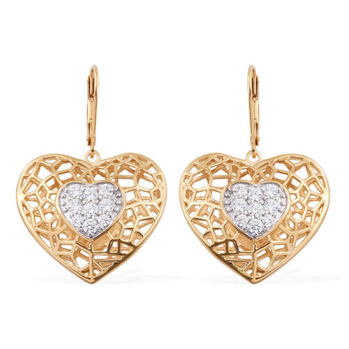 J Francis - 14K Gold Overlay Sterling Silver Heart Lever Back Earrings Made with SWAROVSKI ZIRCONIA, Silver wt 10.91 Gms.