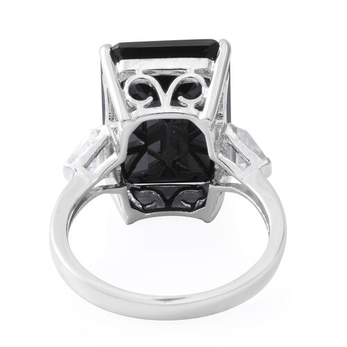 Boi Ploi Black Spinel (Oct 18x13 mm), White Topaz Ring in Rhodium Overlay Sterling Silver 20.470 Ct.