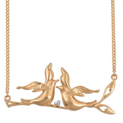 Kimberley Come Fly With Me Collection Platinum and 14K Gold Overlay Sterling Silver Necklace (Size 18), Silver wt 11.24 Gms.