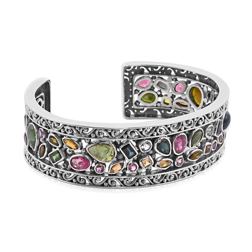 Bali Legacy Collection - Multi-Tourmaline Bangle (Size 7.5) in Sterling Silver 21.85 Ct, Silver wt. 44.25 Gms