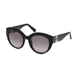 SWAROVSKI Womens Overszied Black Sunglasses with Purple Lenses Aand Decorative Temples