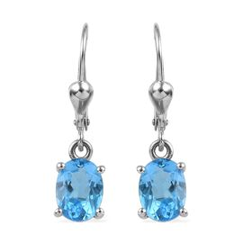 3.25 Ct Swiss Blue Topaz Solitaire Drop Earrings in Platinum Plated Silver