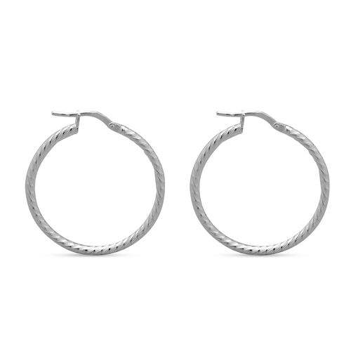 Italian Made - Sterling Silver Textured Creole Hoop Earrings