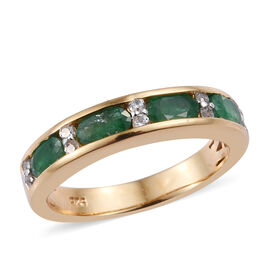 Brazilian Emerald (Ovl), Natural Cambodian Zircon Half Eternity Band Ring in 14K Gold Overlay Sterli
