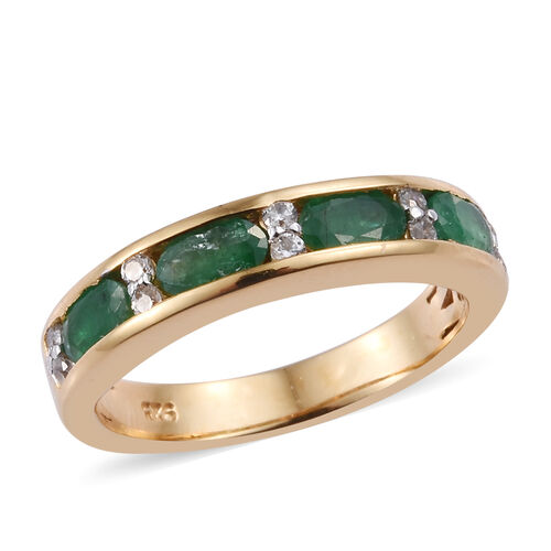 1 Carat Emerald and Cambodian Zircon Half Eternity Band Ring in Gold Plated Sterling Silver