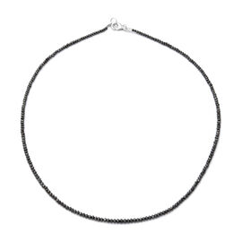 Black Diamond Bead Necklace (Size 16) in Rhodium Overlay Sterling Silver 15.86 Ct.