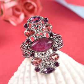 Sajen Silver Cultural Flair Collection - Rhodolite Garnet, Ruby Zoisite, Amethyst & Doublet Quartz Enamelled Ring in Platinum Overlay Sterling Silver 4.70 Ct.