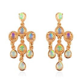 Ethiopian Welo Opal Dangling Earrings (with Push Back) in 14K Gold Overlay Sterling Silver 1.88 Ct.