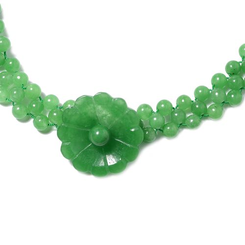 Carved Green Jade Floral Adjustable Necklace (Size 18 - 24) in Rhodium Overlay Sterling Silver with Magnetic Clasp  277.000 Ct,
