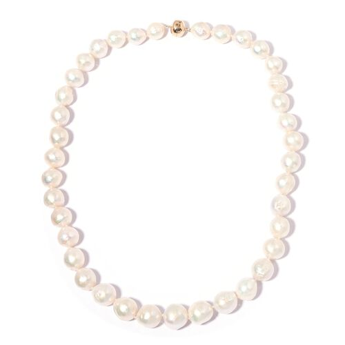 AAA White Edison Pearl Beaded Necklace in 9K Gold 1 Grams 20 Inch