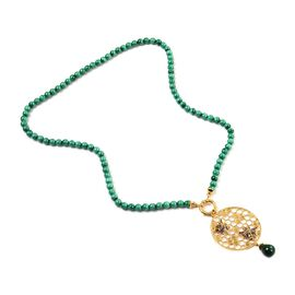 Sundays Child - Malachite Drop and Beaded Detachable Necklace in 14K Gold Overlay Sterling Silver 14