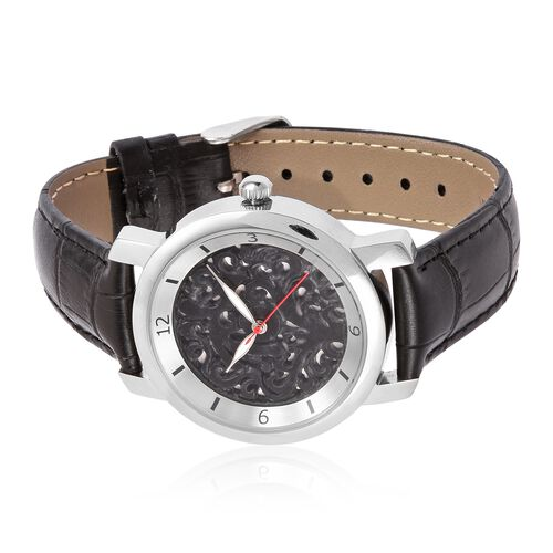 EON 1962 Swiss Movement Black Jade Dial 3ATM Water Resistent Watch with Genuine Leather Strap 25.000 Ct.
