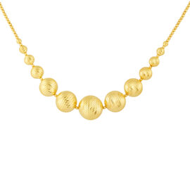 Italian Made 9K Yellow Gold Diamond Cut Graduated Necklace (Size 17 with 2 inch Extender), Gold wt. 17.70 Gms.