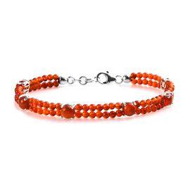 20.50 Ct Red Onyx Beaded Bracelet in Silver 7.5 Inch