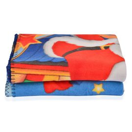 Super Soft Reindeer and Santa Print Pattern Fleece Throw - 200 Gsm -  Size 130x170cm.