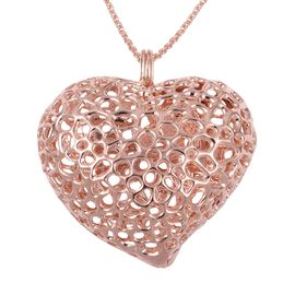 RACHEL GALLEY Rose Gold Overlay Sterling Silver Lattice Heart Necklace (Size 30), Silver wt. 33.00 G