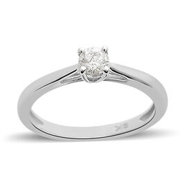 9K White Gold SGL Certified Diamond (Rnd) (I3/G-H) Solitaire Ring 0.250 Ct.