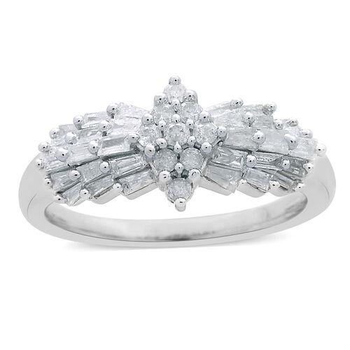 9K White Gold SGL Certified Diamond (Rnd and Bgt) (I3/G-H) Ring 0.750 Ct.