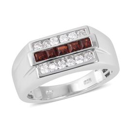 1.16 Ct Mozambique Garnet and White Zircon Ring in Sterling Silver 6.41 Grams