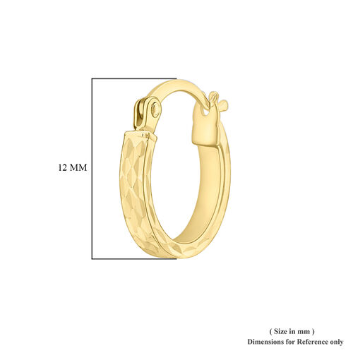 9K Yellow Gold Diamond Cut Hoop Earrings (with Clasp), Gold wt 1.10 Gms