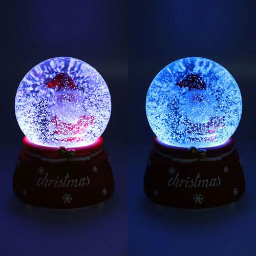 Home Decor - Musical Crystal Globe with Santa and Tree (Size 15x10Cm) - Red and Green