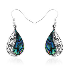 Royal Bali Abalone Shell Drop Hook Earrings in Sterling Silver 3.40 Grams