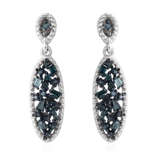 Diamond (Bgt and Rnd) Earrings (with Push Back) in Platinum and Blue Overlay Sterling Silver 0.330 C
