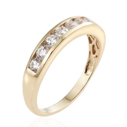 J Francis - Made with SWAROVSKI ZIRCONIA Half Eternity Ring in 9K Gold 3 gms