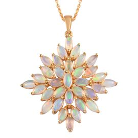 Ethiopian Welo Opal Cluster Pendant with Chain (Size 18) in 14K Gold Overlay Sterling Silver 5.50 Ct