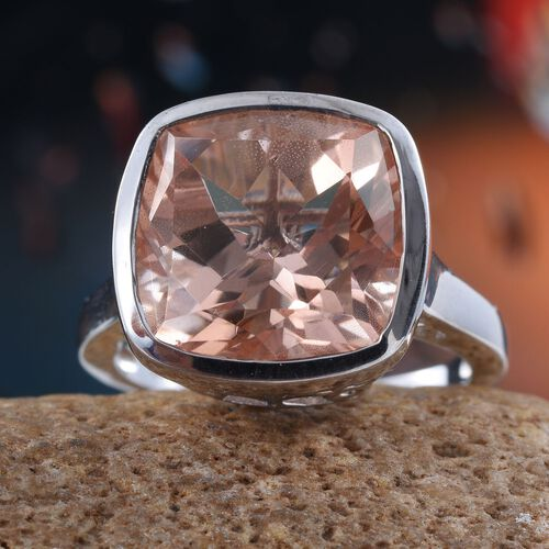 Galileia Blush Pink Quartz (Cush) Ring in Platinum Overlay Sterling Silver 11.000 Ct.
