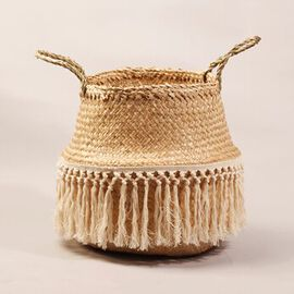 Foldable Seagrass Basket with Tassels (Size 30X25X30 HANDLE 12 CM)