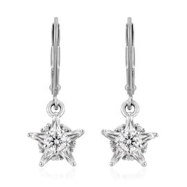 J Francis - Platinum Overlay Sterling Silver (Rnd and Bgt) Lever Back Star Earrings Made with SWAROV
