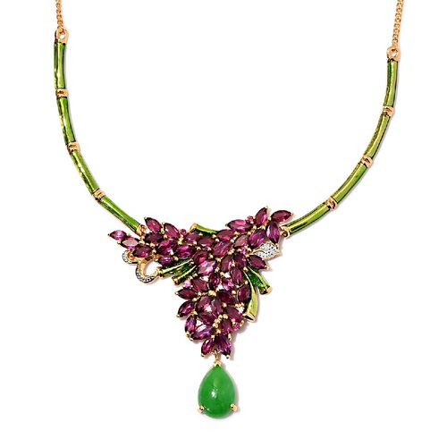 GP 20 Carat Green Jade and Multi Gemstone Floral Necklace in 14K Gold Plated Silver 18 Inch