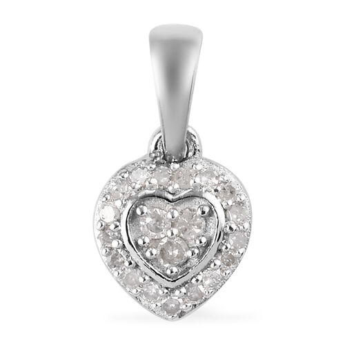 2 Piece Set - White Diamond Heart Pendant and Stud Earrings (with Push Back) in Platinum Overlay Sterling Silver 0.33 Ct.