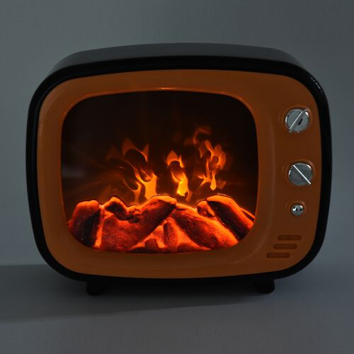 LED TV Fireplace Lamp with USB Cable (Size 26x20x10 Cm) - Orange Colour (3xC Battery not Included)