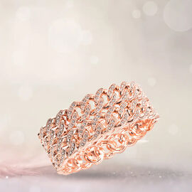 Designer Inspired - White Austrian Crystal Curb Bangle (Size 6.5) in Rose Gold Tone