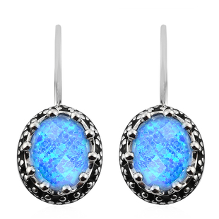 Sajen Silver Cultural Flair Collection- Quartz Doublet Simulated Opal Blue Earrings in Rhodium Overl