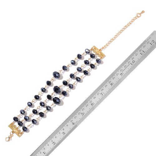 Simulated Black Spinel Triple Strand Necklace (Size 19 with 3 inch Extender) and Bracelet (Size 7.5 with 2.5 inch Extender) in Yellow Gold Tone