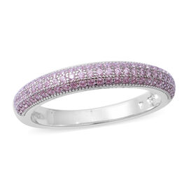ELANZA Pink Cubic Zirconia Stacker Band Ring in Rhodium Plated Sterling Silver
