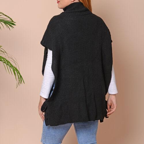 High Collar Knit Vest with Adjustable Strap on Sides (Size 68x70cm) - Black