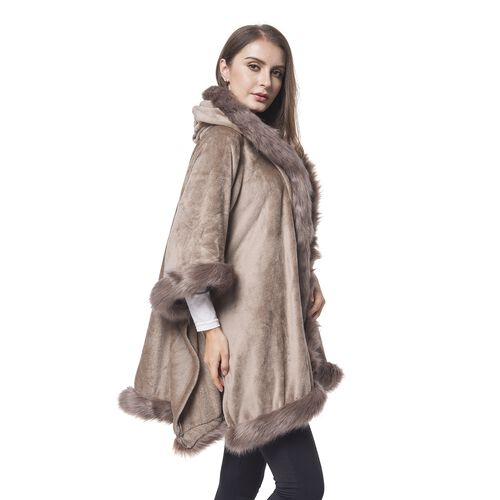Designer Inspired - Chocolate Faux Fur Hoodie Jacket (One Size For All)