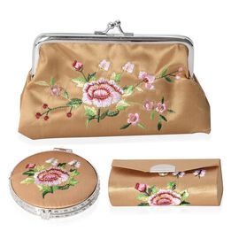 Set of 3 Floral Embroidered Light Brown Colour Cosmetic Organizer (Coin Purse, Compact Mirror and Lipstick Case)