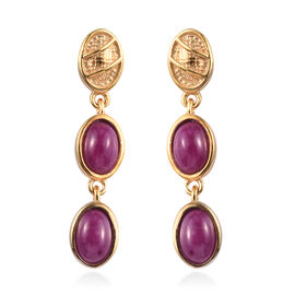 John Saul Ruby Dangle Earrings (with Push Back) in 14K Gold Overlay Sterling Silver 3.00 Ct.