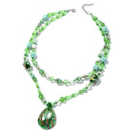 Murano Style Glass, Simulated Emerald, Ceramic, Simulated Diamond and White Shell and Multi Colour Beads Necklace (Size 24) in Silver Plated.