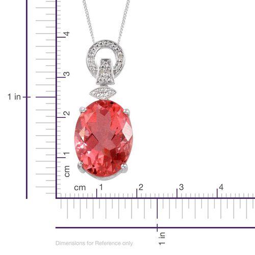 Padparadscha Colour Quartz (Ovl 19.50 Ct), Diamond Pendant with Chain in Platinum Overlay Sterling Silver 19.520 Ct.