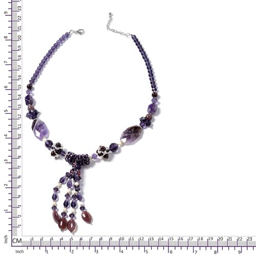 Amethyst, Garnet, White Shell, Silver Grey colour Beads , Purple and Multi Colour Beads Necklace (Size 24) in Silver Bond.