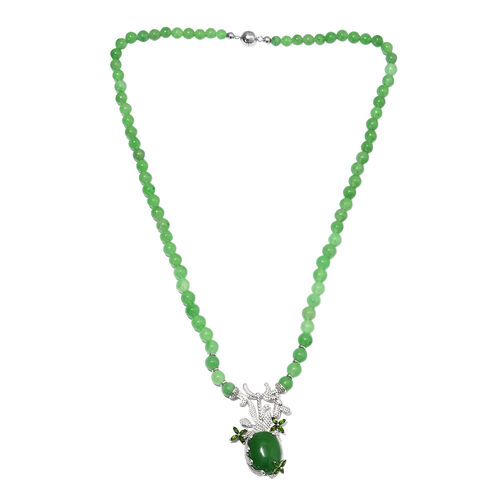 147.25 Ct Green Jade and Russian Diopside Beaded Neckalce in Silver 20 Inch