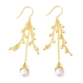 LucyQ Freshwater White Pearl Hook Drip Earrings in Yellow Gold Overlay Sterling Silver, Silver wt 14